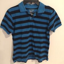 Old Navy Boys Striped Polo Shirt Blue and Black Size 6/7