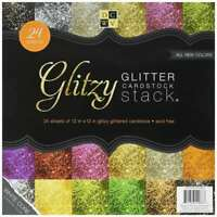 DCWV The Glitzy Glitter Cardstock Stack 12 in x 12 in 24 sheets total 6 solid co