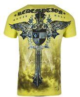 Raw State AFFLICTION Mens T-Shirt ENEMY CROSS Tattoo WINGS Biker MMA UFC M-L $