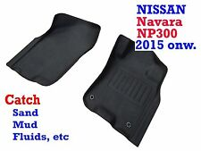 To suit Nissan Navara NP300 2015-2017 Auto Only Black Rubber Car Mats Front Pair