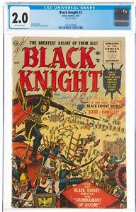 BLACK KNIGHT #2 Atlas Comics 1955 CGC 2.0 2nd app, Ebony Blade, Eternals 🔥 rare