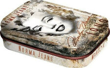 Retro Tin Metal Pill Box 'MARILYN MONROE' with Mints - Montage Image NORMA JEAN