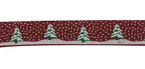 Grosgrain Christmas Tree and Snow Ribbon , Dark Red , app. 10mm x 5yrds