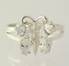 Butterfly Cubic Zirconia Cocktail Ring - 925 Sterling Silver Women's Size 5 1/4