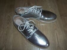 NEW RAVEL Reagan Leather Brogue Shoes Size UK 4 Silver - See description