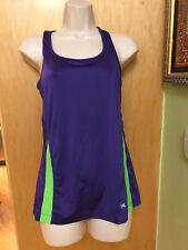 XERSION PERFORMANCE TANK ATHLETIC TOP FITNESS PURPLE GREEN S SEMI FITTED WOMENS