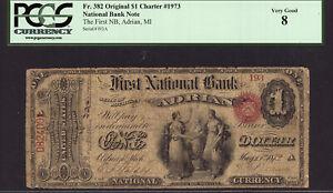 $1 Original First National Bank of Adrian, Michigan FR 382 CH 1973 PCGS 8 RARE