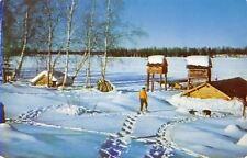 Frozen Sucker Lake Alaska~Trapper's Camp~Man on Snowshoes~Supply Huts~1950s PC