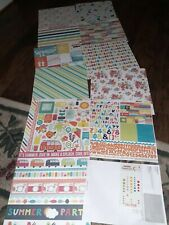 SUMMER PARTY ECHO PARK PAPER CO SCRAPBOOKING CARDSTOCK SHEETS & STICKERS-12 pcs