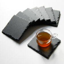 Set of 8 Natural Slate Stone Cup Drinks Mats Coaster Holder Tableware Place Mat