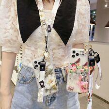 For Various Phone Women Girl Flower Bracket Lanyard Hot Fashion Case Cover Skin