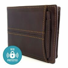 Soft Genuine Leather Wallet RFID Blocking Credit Card Holder Zip Coin Purse NEW