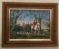 "VINTAGE. HORSE ART FOIL LITHO  FOX HUNTING ""THE DROP JUMP"""