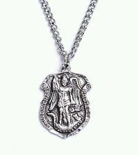 Saint Michael Protect Us Police Shield Pendant Necklace