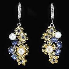 925 Sterlingsilber Ohrringe Weiß/Gelbgold beschichtet Blau Sternsaphir Cabochon