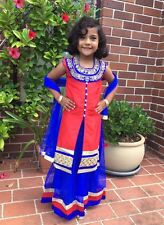 "26"" Age 5 6 Size Lehenga Choli Indian Bollywood Kids Dress Girls Skirt Red Blue"