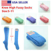 3~12pairs Women Winter Socks Cozy Fuzzy Slipper Long Fleece Knee High Lot Solid
