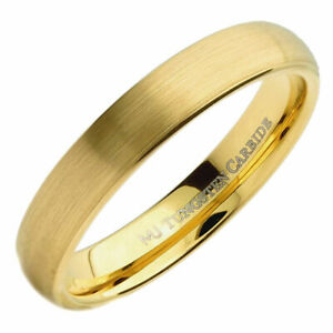 4mm or 6mm Gold Plated Brushed Tungsten Carbide Wedding Ring Half Dome Band