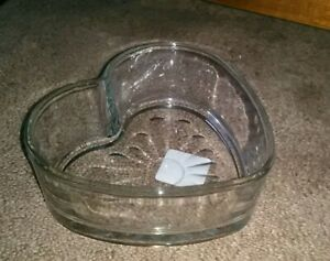 Glass Heart Candy Dish by Libbey Glass Thick Glass  (Brand New!)