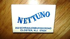 """OLD Vintage """"NETTUNO"""" Closter,N.J matchbox MADE IN USA"""