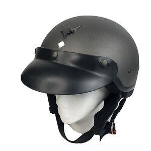 Vtg Mens XL Genuine Harley Davidson Half Helmet Open Face Matte Gray Victory '98