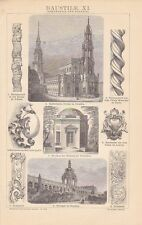 Rokoko Architektur Baukunst Baustil HOLZSTICH von 1882 Dresden Zwinger Kirche