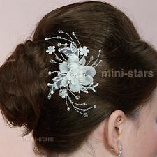 sposa matrimonio avorio tessuto di raso fiore cristallo PETTINE SLIDE T1463