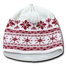 White & Red Snowflake Nordic Beanie Hat Pom Ski Snowboard Winter Warm Knit Cap