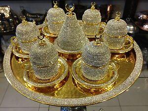 Handmade Copper Turkish Coffee Espresso Serving Set Swarovski Crystal Cup  Tray