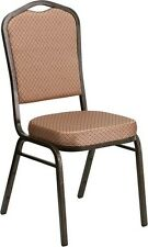 10 PACK Crown Stacking Banquet Chair in Gold Diamond Pattern Fabric w/Gold Frame