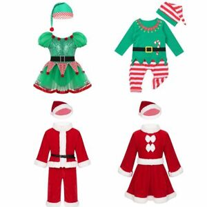Kid Girls Boys Christmas Costume Outfit Santa Claus Suit Party Holiday Dancewear