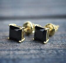 Mens Princess Cut Black Onyx 14k Yellow Gold 925 Sterling Silver Stud Earrings