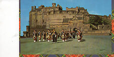 postcard Scotland  highland pipers on parade at Edinburgh  Castle unposted