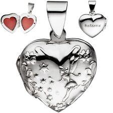"""Herzmedaillon 925 Echt Silber """"believe"""" Medalion Medallion Amulett Metalion"""