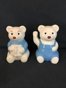 Pair Of Ceramic Teddy Bear Bookends , Blue & White.