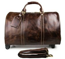 Genuine Leather Mens Travel Tote Luggage Wheel Travel Trolley Dispatch Bag