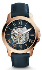 Fossil ME3102 Men's Grant Rose Gold Tone Blue Leather Skeleton Automatic Watch