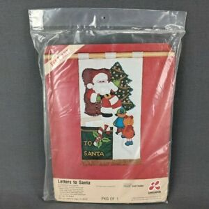 "VTG LeeWards Letters to Santa Felt Jeweled Christmas 12x23"" Card Holder Kit 1977"