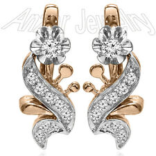 14k Solid Rose and White Gold Genuine Diamond Russian Style Earrings E1377.