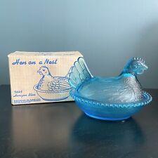 VTG Indiana Glass Hen On Nest Horizon Blue #7845 Candy Dish Beaded Original Box