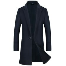 Men's One Button Wool Blend Jacket Outwear Mid Length Trench Coat Business New L