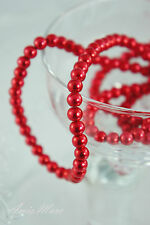 230PCS 4MM Glass Pearl Red Color Spacer Round DIY Imitation Loose Pearl Beads