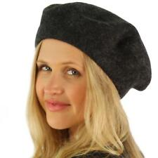 Classic Winter 100% Wool Warm French Basque Beret Tam Beanie Hat Cap Charcoal