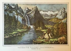 """Currier & Ives > """" YOSEMITE VALLEY CALIFORNIA < print of lithograph"""