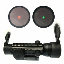 Tactical 2x42mm Red Green Dot Scope Sight 20mm Tri-Rail Weaver Mount for Rifle