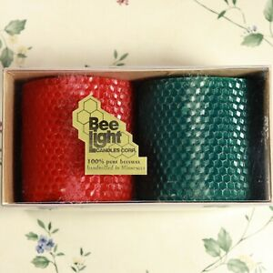 """Two 100% Natural Hand-Made Rolled Beeswax Honeycomb 3"""" Natural Pillar Candles"""