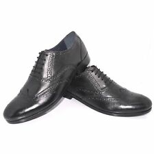 New Mens Ex-M&S Black Leather 1260 Lace Up Brogues Shoes Sizes UK 7-11