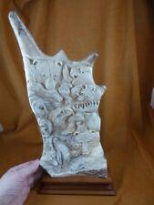 Antler-3) white Bear wolf eagle seal shed moose antler figurine detailed carving