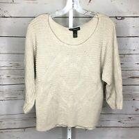 INC Womens Chunky Knit Long Sleeve Sweater Size M tan