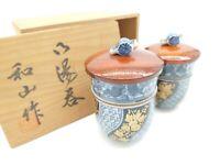 H6261 vintag Japanese Porcelain Teacup Wooden Box  Yunomi Sencha Blue Aritayaki